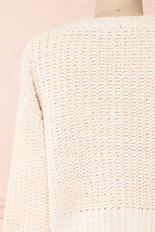 Anja Ivory Fuzzy Knit Button-Up Cardigan | Boutique 1861 back close-up