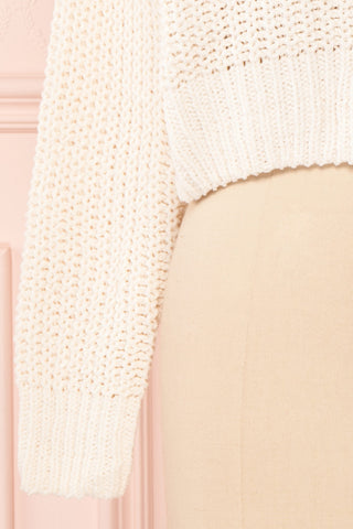Anja Ivory Fuzzy Knit Button-Up Cardigan | Boutique 1861 bottom close-up