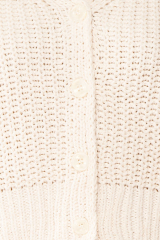Anja Ivory Fuzzy Knit Button-Up Cardigan | Boutique 1861 fabric detail