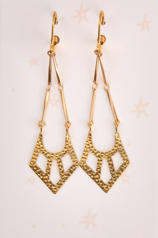 Ann Sothern Golden Geometric Pendant Earrings | La Petite Garçonne 1