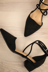 Annagh - Black suede low heeled shoes