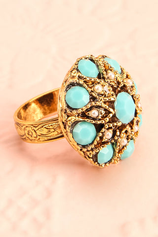 Anomala - Golden and turquoise ring | Boudoir 1861 3