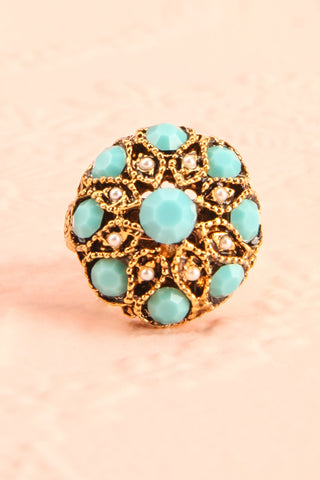 Anomala - Golden and turquoise ring | Boudoir 1861 2
