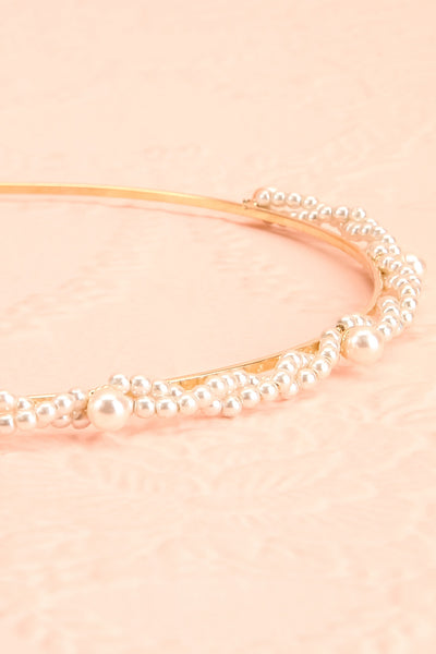 Anouska Golden Headband with Pearl Ornamentation flat close-up | Boudoir 1861