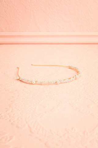 Anouska Golden Headband with Pearl Ornamentation flat view | Boudoir 1861