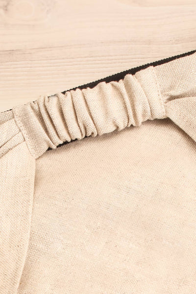 Ante Beige Elastic Linen Head Scarf | La petite garçonne flat close-up