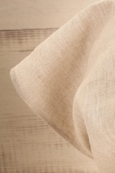 Ante Beige Elastic Linen Head Scarf | La petite garçonne close-up