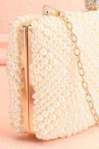 Pandore Pearl Crossbody Clutch side close-up | Boudoir 1861