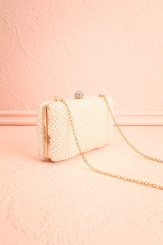 Pandore Pearl Crossbody Clutch side view | Boudoir 1861