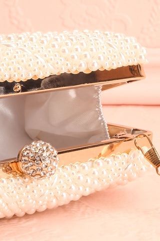 Pandore Pearl Crossbody Clutch inside close-up | Boudoir 1861