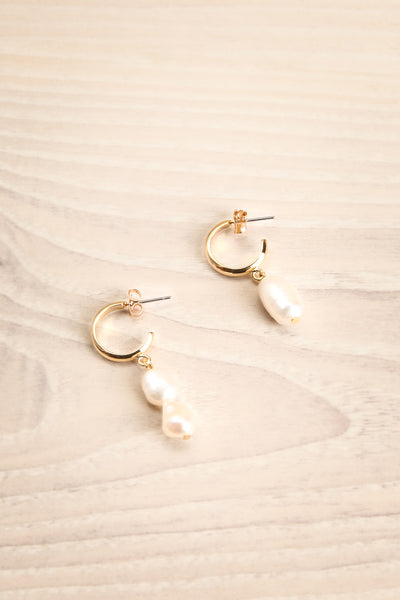 Antipatharia Golden Hoop Earrings with Pearls | La Petite Garçonne