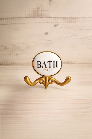 "Antique Bath Hook with ""Bath"" in White 