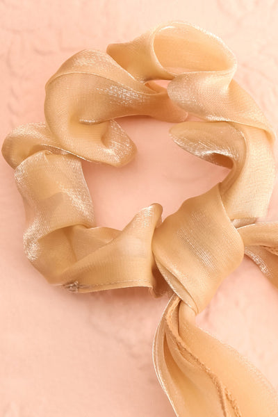 Antlia 3-Pack Satin Mesh Hair Scrunchie w/ Bow | Boutique 1861 beige close-up