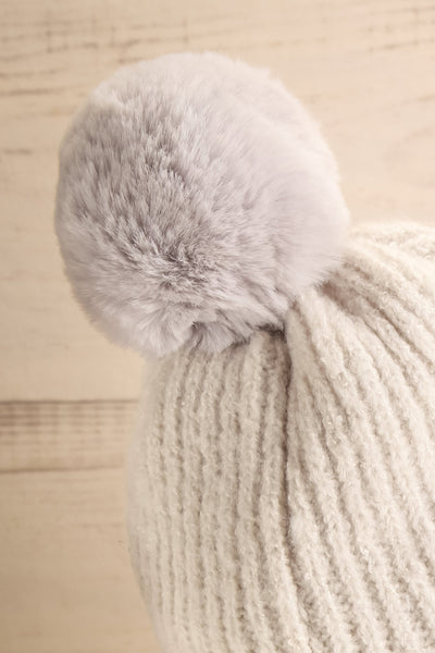 Apalda Gris Grey Knit Tuque with Pompom close-up | La Petite Garçonne
