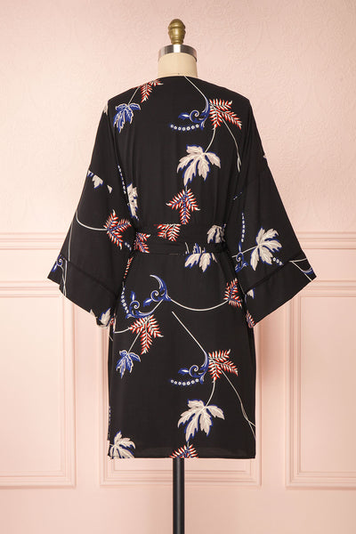 Apatity Black Floral Short Wrap Dress | Boutique 1861 back view