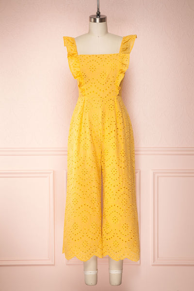 Ardfesh Yellow Embroidered Openwork Jumpsuit | Boutique 1861 front view