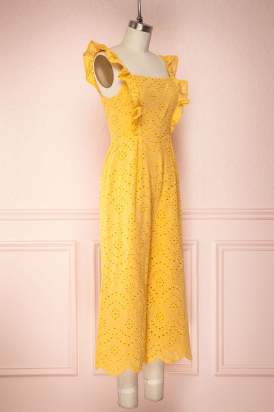 Ardfesh Yellow Embroidered Openwork Jumpsuit | Boutique 1861 side view