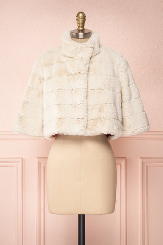 Ariana Ivory Faux Fur Cropped Jacket | Boutique 1861  front view