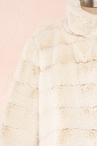 Ariana Ivory Faux Fur Cropped Jacket | Boutique 1861 front close-up