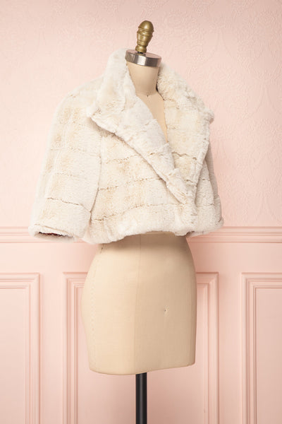 Ariana Ivory Faux Fur Cropped Jacket | Boutique 1861 side view