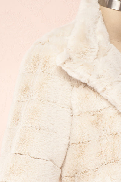 Ariana Ivory Faux Fur Cropped Jacket | Boutique 1861 side close-up