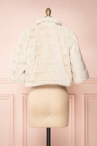 Ariana Ivory Faux Fur Cropped Jacket | Boutique 1861 back view