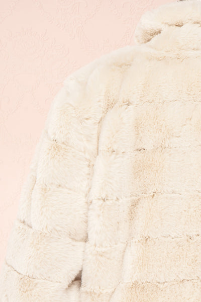 Ariana Ivory Faux Fur Cropped Jacket | Boutique 1861 back close-up