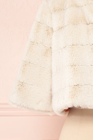 Ariana Ivory Faux Fur Cropped Jacket | Boutique 1861 bottom close-up