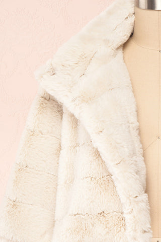 Ariana Ivory Faux Fur Cropped Jacket | Boutique 1861 front close-up open