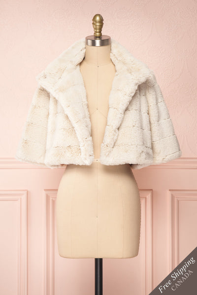 Ariana Ivory Faux Fur Cropped Jacket | Boutique 1861 front view open