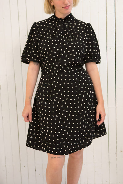 Arlette Black Patterned Short Sleeve Dress | Boutique 1861 model