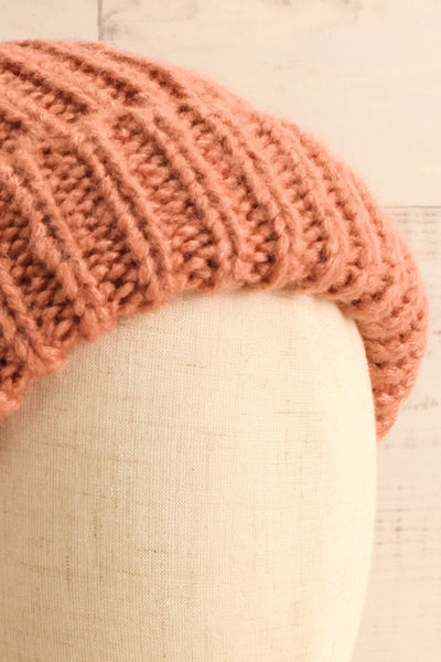 Arlon Pink Knitted Beanie with Pompom | La petite garçonne close-up