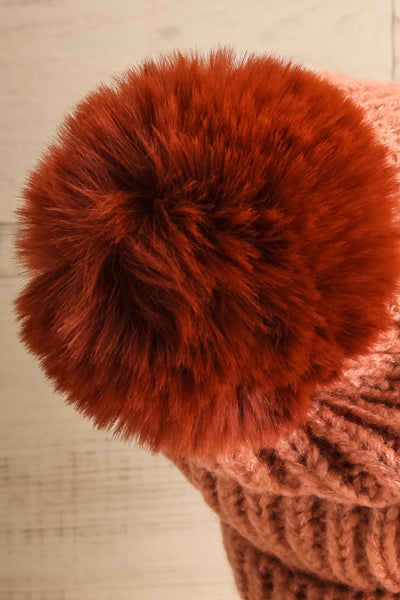 Arlon Pink Knitted Beanie with Pompom | La petite garçonne back close-up