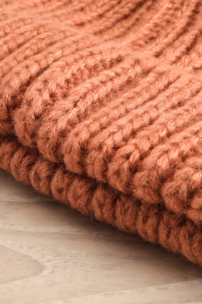 Arlon Pink Knitted Beanie with Pompom | La petite garçonne flat close-up