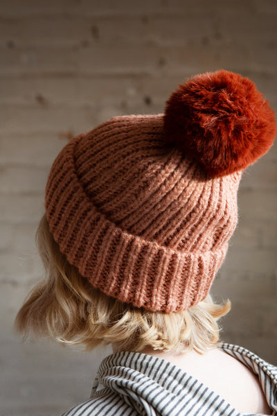 Arlon Pink Knitted Beanie with Pompom | La petite garçonne model
