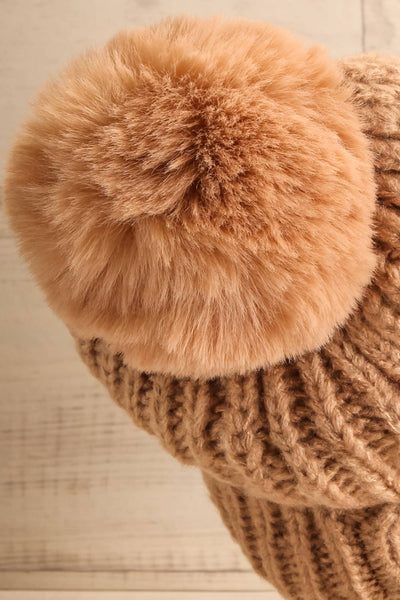 Arlon Taupe Knit Tuque with Pompom | La petite garçonne back close-up