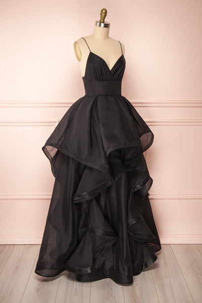 Armande Black Voluminous Maxi Dress | Boutique 1861 side view