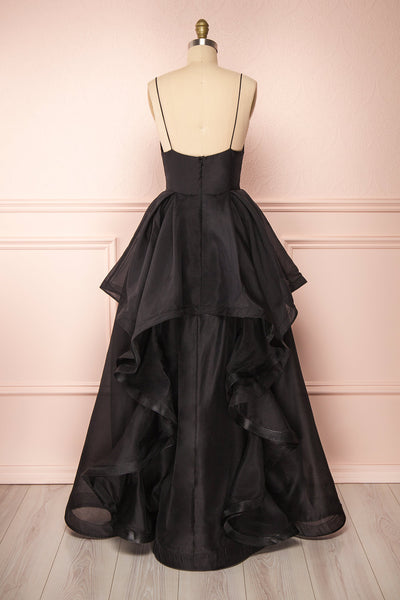 Armande Black Voluminous Maxi Dress | Boutique 1861 back view