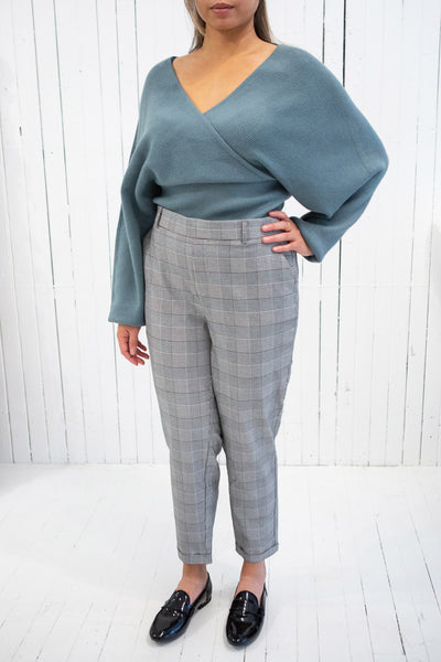 Armis Teal Ribbed Faux Wrap Sweater | La petite garçonne model
