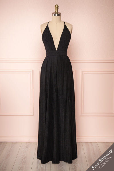 Arnemande Black Glitter Gown | Robe Maxi | Boutique 1861 front view