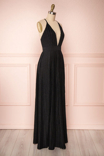 Arnemande Black Glitter Gown | Robe Maxi | Boutique 1861 side view