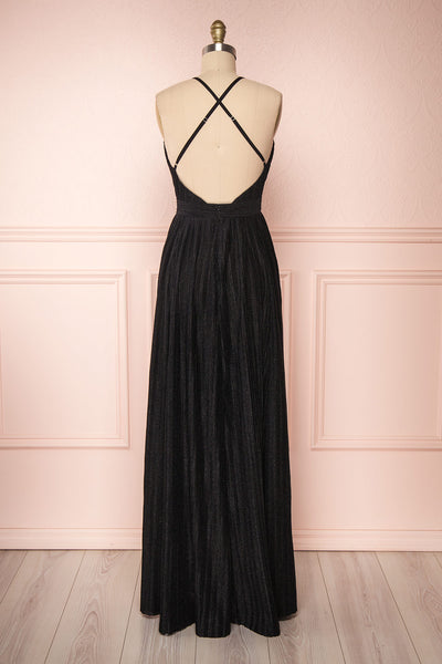 Arnemande Black Glitter Gown | Robe Maxi | Boutique 1861 back view
