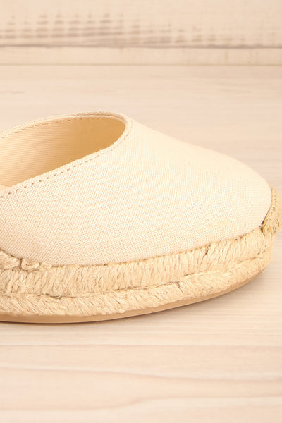 Arnissa Beige Rope Soled Summer Wedges | La petite garçonne side close-up front