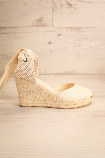 Arnissa Beige Rope Soled Summer Wedges | La petite garçonne side view