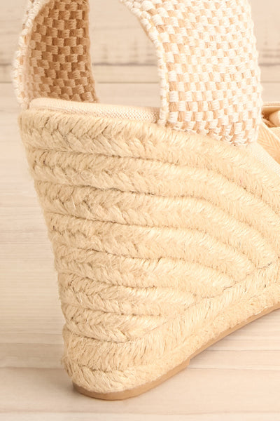 Arnissa Beige Rope Soled Summer Wedges | La petite garçonne back close-up