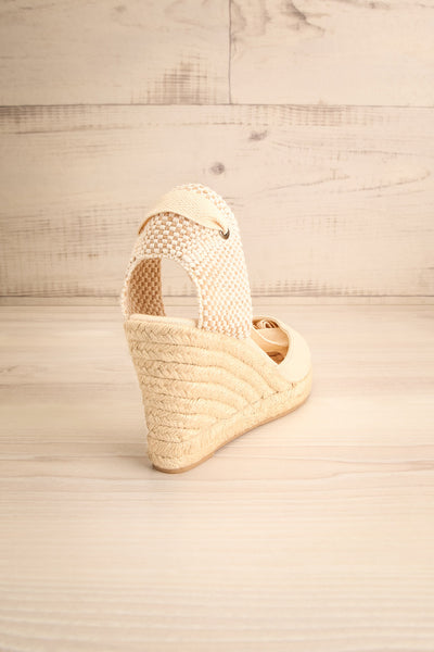 Arnissa Beige Rope Soled Summer Wedges | La petite garçonne back view