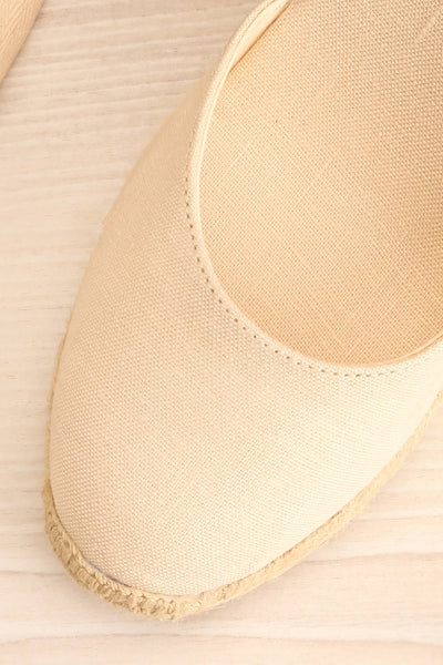 Arnissa Beige Rope Soled Summer Wedges | La petite garçonne flat close-up
