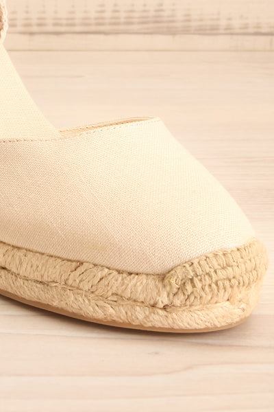 Arnissa Beige Rope Soled Summer Wedges | La petite garçonne front close-up