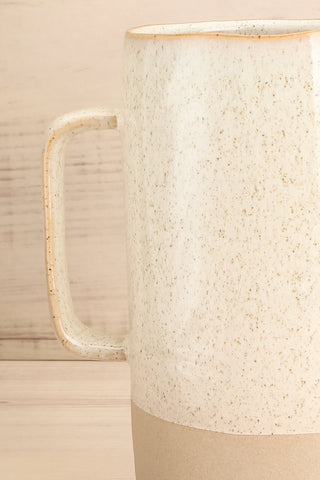 Artena Speckled Ivory Ceramic Pitcher handle close-up | La Petite Garçonne Chpt. 2