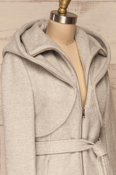 Arya Grey Wool Hooded Soia&Kyo Trench Coat side close up | La Petite Garçonne
